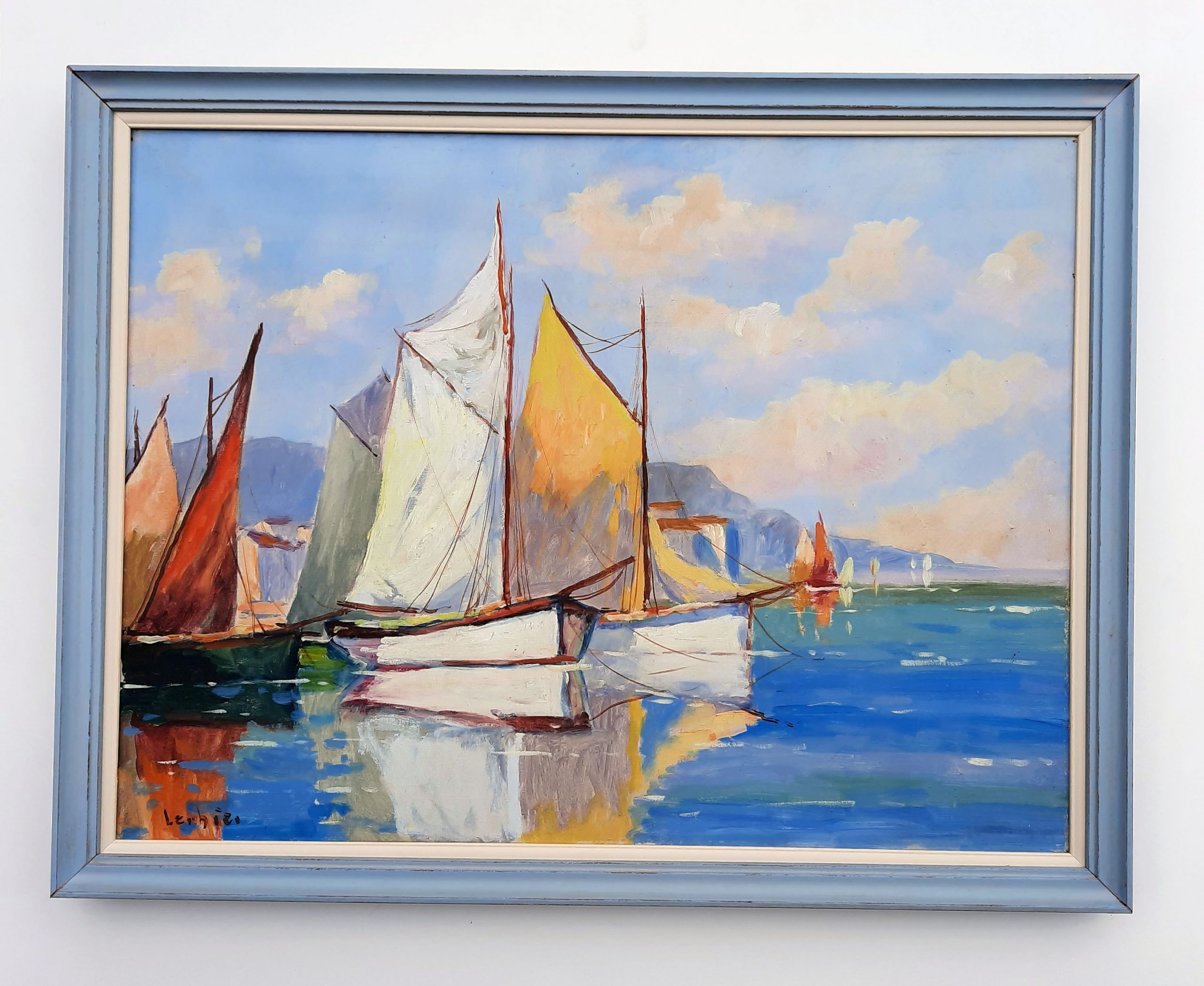 double baguette pour une toile peinte style marine